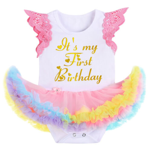 It/'s My First Birthday Tutu Romper Dress Crown Headband Outfit Photo Costume