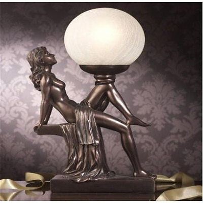 ART DECO LAMP SHADE GLASS TABLE LIGHT VINTAGE LADY ANTIQUE FRENCH NUDE DESK