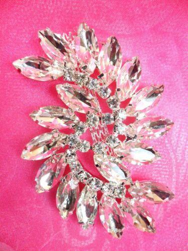 "ACT//XR196 Marquise Swirl Crystal Rhinestone Glass Applique Embellishment 2.75/"""