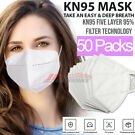 50-Pack Nanoflo KN95 Protective 5 Layers Face Mask