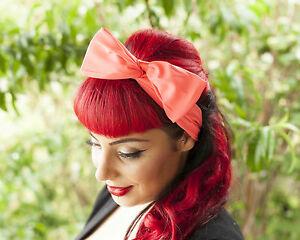 Fluro-Pink-Hairband-Retro-50-039-s-Rockabilly-hair-tie-W-Large-Bow