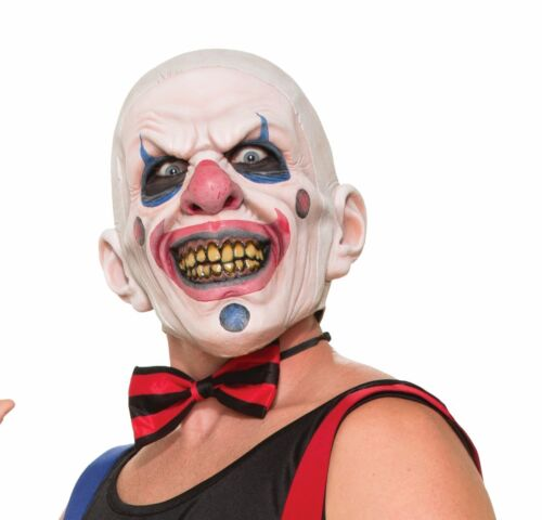 Psycho Wide Smile Clown Mask Shaved Bald Head Joker Mouth Adult Mens Latex NEW