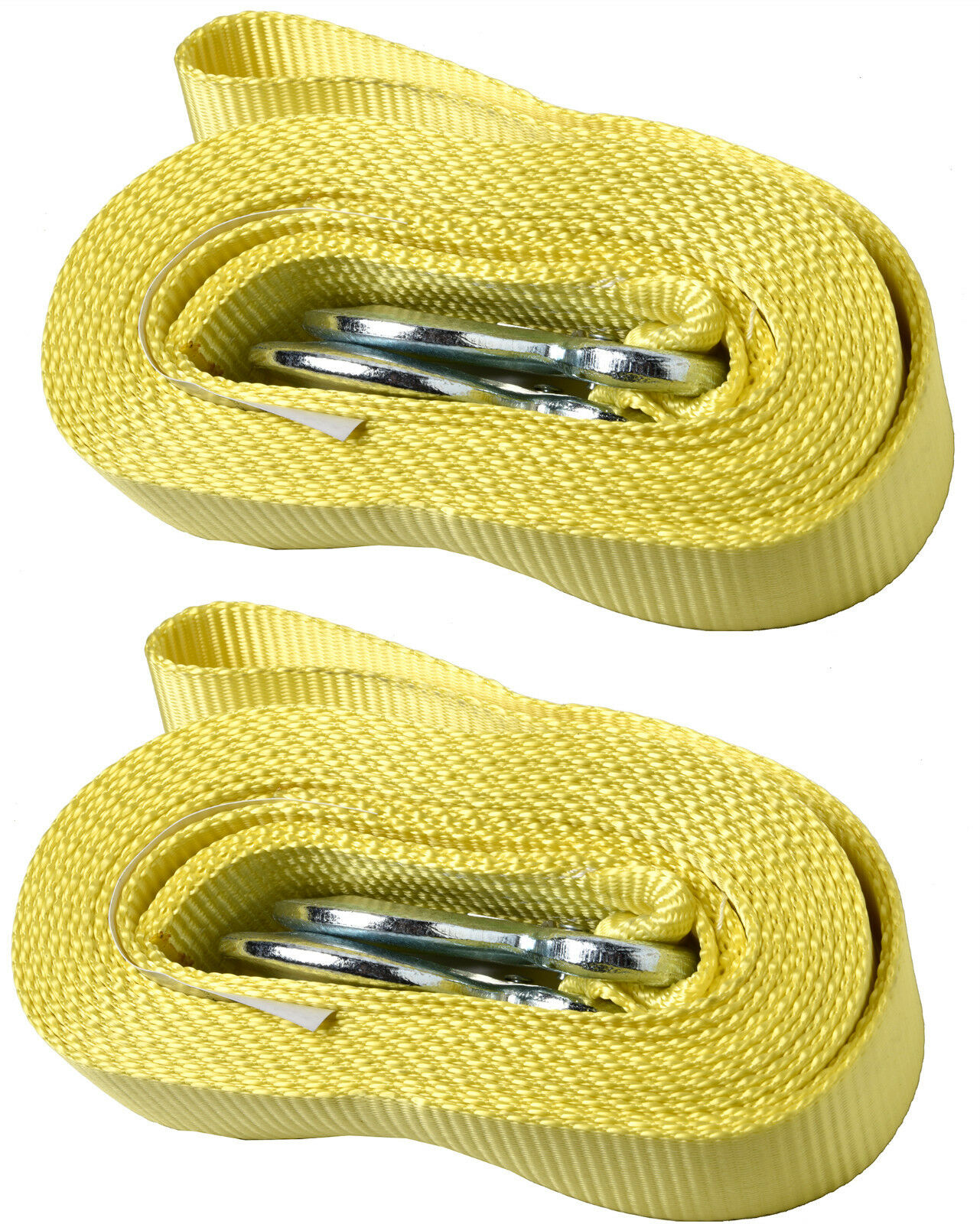 Two (2)Y7 - 2 Inch x 20 Ft. Polyester Tow Strap Rope 2 Hooks 11,000lb Heavy Duty