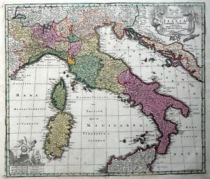 Cartina Antica Sardegna.Italia 1730 M Seutter Carta Originale Antica Mappa Sardegna Corsica Dalmazia Ebay