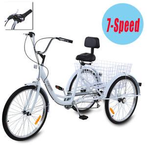 Adult-24-034-3-Wheel-White-Trike-Bicycle-Shimano-7-Speed-Tricycle-Cruise-W-Basket