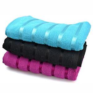 Nuevo-100-algodon-egipcio-toallas-de-bano-de-3-colores-a-rayas-en-negro-purpura-y-verde-brillante
