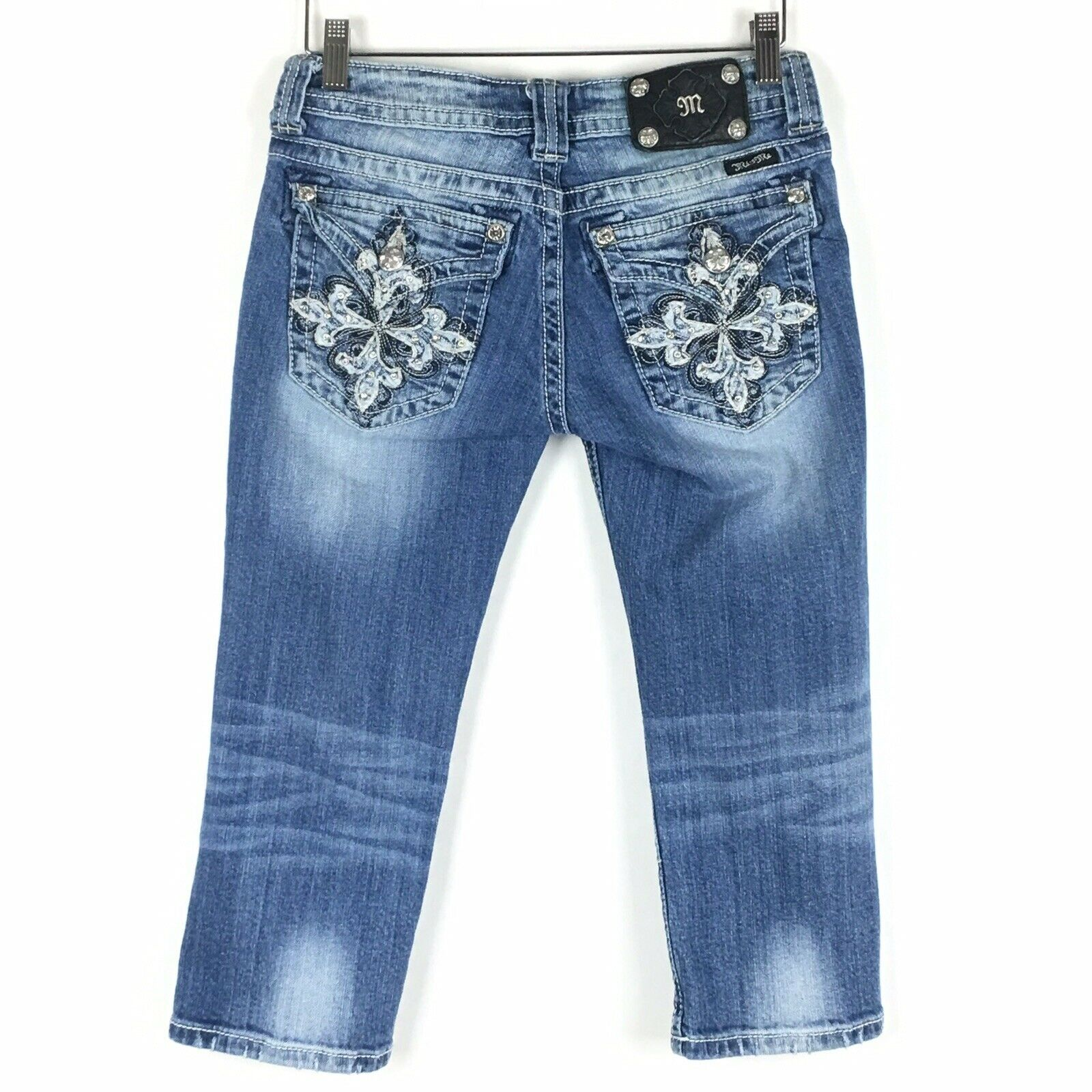 Miss Me Capri Jeans 27 Rhinestone Embroidered bluee Women Distressed Hand Sanding