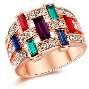 18K-ROSE-GOLD-GF-Amethyst-Sapphire-RAINBOW-CRYSTAL-WOMEN-WEDDING-DRESS-BAND-RING