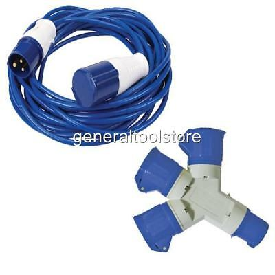 PACK OF 2 FLY LEADS  GENERATOR CARAVAN 3 PIN PLUG TO ROUND CAMPING 16 13 AMP