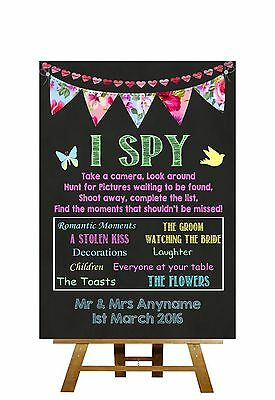 Bright Chalkboard Style I Spy Table Cameras Personalised Wedding Sign
