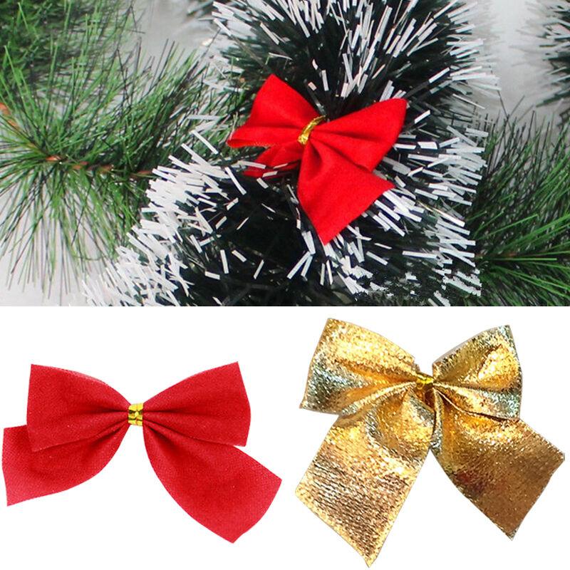 24stk schleifen weihnachtsbaum deko 6cm xmas geschenk gold for Weihnachtsbaum rot silber
