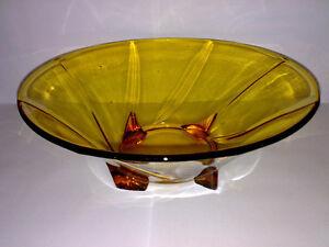 Glas-Schale-Glasschale-Schuessel-Art-Deco-Braun-Bernsteinfarben-Dia-23-5-cm