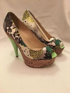 Original 6 Design Silk Size New Peep In Floral Heels Brand Box Sixty Miss Toe UFAnOxO