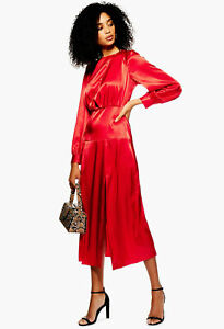 NEW-TOPSHOP-Red-Cut-Out-Midi-Party-Dress-RRP-49-sizes-4-6-8-10-12-14-16