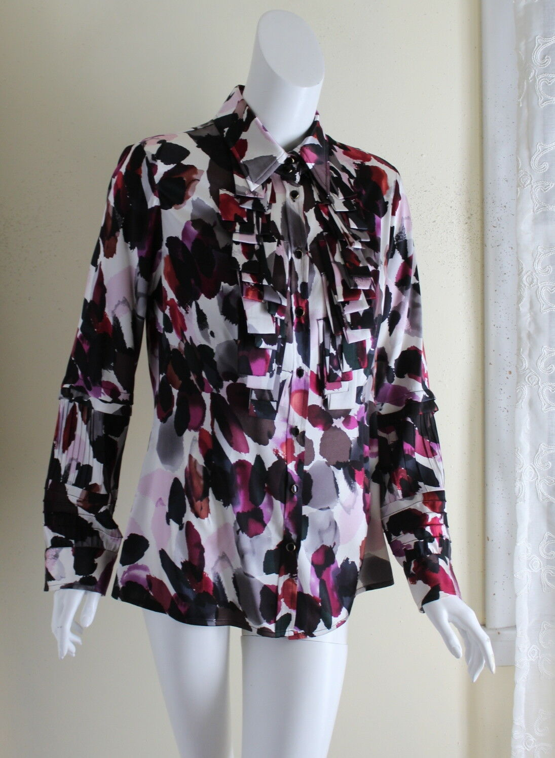 ETCETERA -Sz 10 Graphic Silk Charmeuse Floral Funky Ruffled Shirt Top
