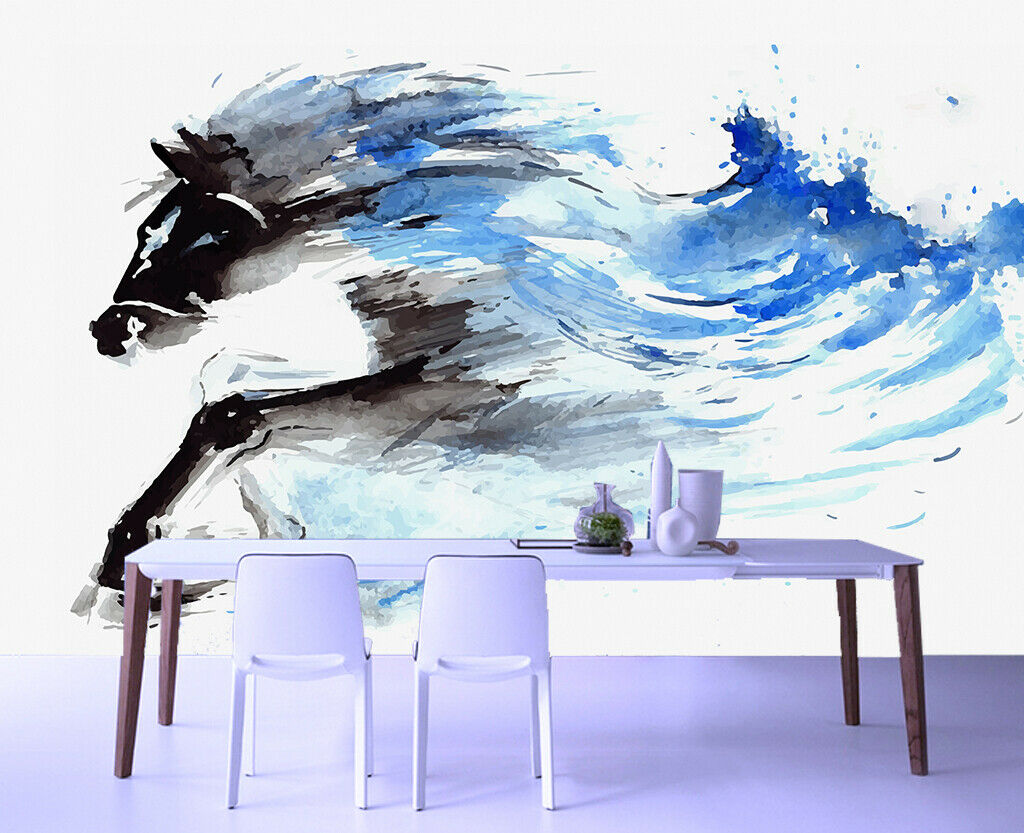 3D Ink Art Horse N171 Wallpaper Wall Mural Removable Self-adhesive Sticker Amy
