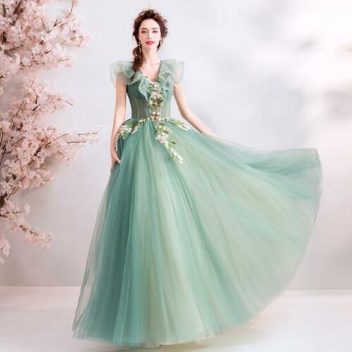 Gorgeous Dreamlike Princess Fairy Dress V Neck Banquet Party Prom Evening Gown