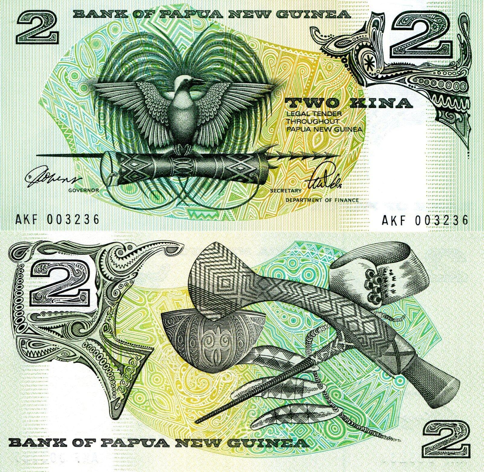 1981 Bird of Paradise//Local Artifacts//p5a UNC Papua New Guinea 2 Kina