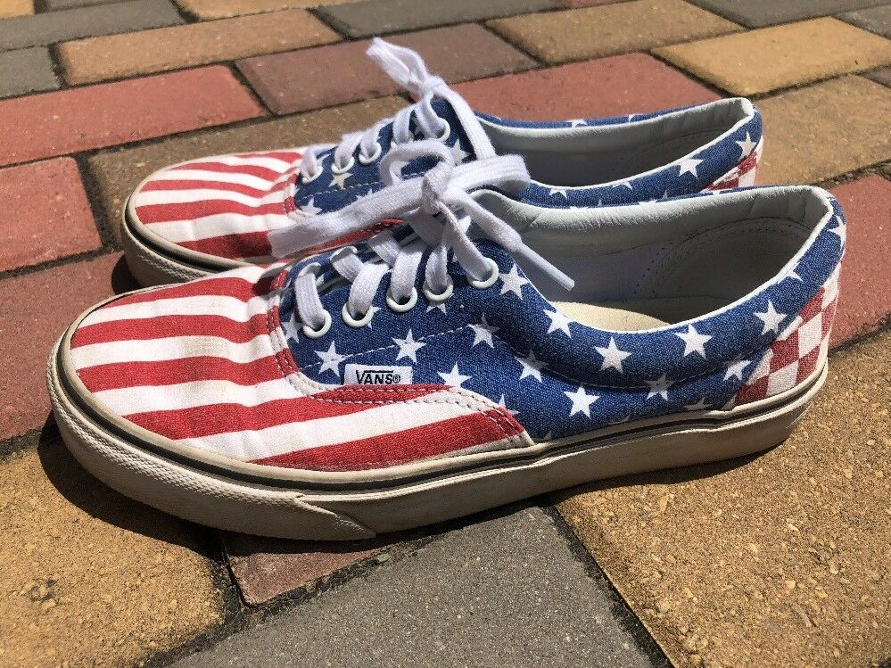 Vans Van Doren American Flag Patriotic Checkered Lace Up Shoes M 7.0 W 8.5