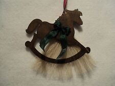 Genuine Horsehair Rocking Horse Western Christmas Ornament