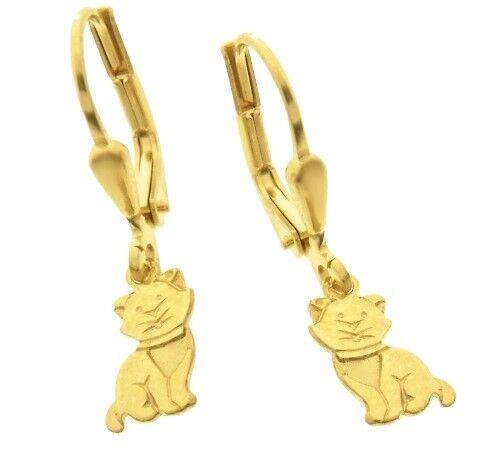 12 Ohrringe Katze teilmattiert Brisur Boutons 585 Gold