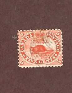 CANADA-Scott-15-5c-beaver-vermillion-1859-64-Used