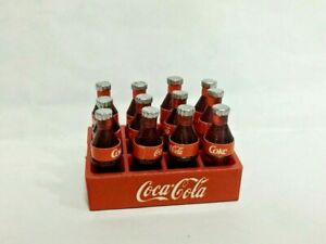 Mini Vintage-Style Red Soda Crate w 12 Bottles ~ Realisitc Miniature Gardening Accessories ~ Rustic Home /& Party Decor