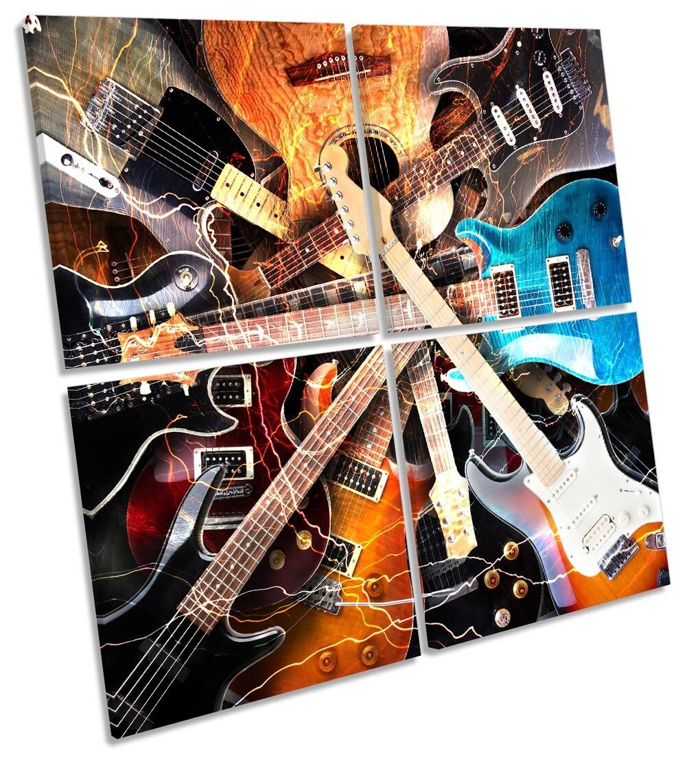 Music Guitar Rock Framed MULTI CANVAS PRINT Art Square
