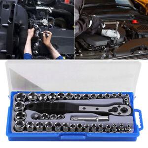 38-Stueck-Socket-Set-3-8-034-Zoll-Metrischer-Ratchet-Treiber-Steckschluessel-Werkzeug