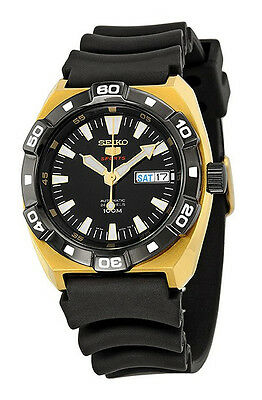 SEIKO 5 Sports SRP288 SRP288K1 Mens Automatic Black Dial Gold Tone 100m Watch