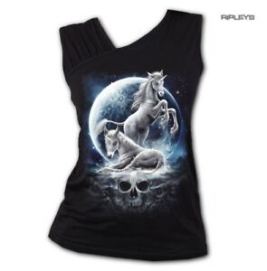 SPIRAL-Ladies-Black-Gothic-BABY-UNICORN-Moon-Skull-Slant-Vest-Top-All-Sizes