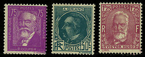 France   1933   Scott # 291-293  Mint Never Hinged Set (291 is Lightly Hinged)