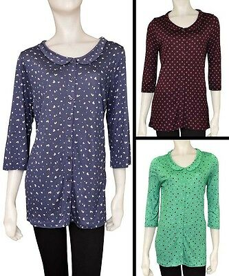 Ladies Womens George Cropped 3//4 Sleeves Buttoned Tops Shirt Plus Size 8-24