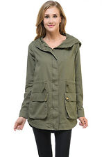 Auliné Collection Women's Long Utility Pockets Layering Lightweight Shirt Jacket