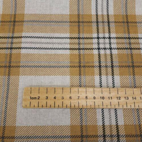 Mustard Tartan Grey and Ochre Canvas Cotton Fabric 55 inch //140cm