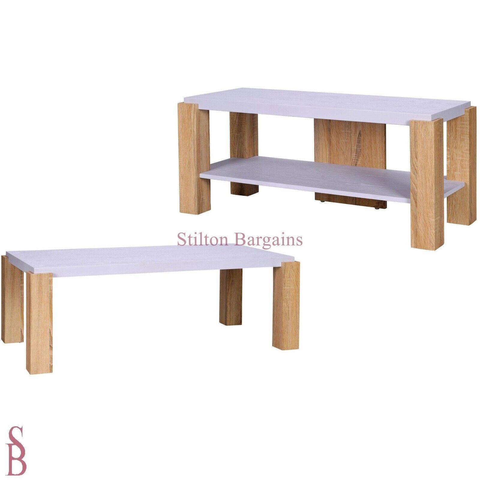 Attirant Two Tone Furniture   Weiß And Oak Effect   BNIB BNIB BNIB   TV Stand, End  Table Af6fa1