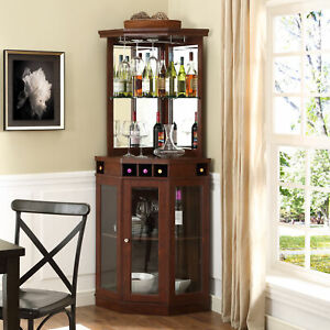 Details About Tall Corner Bar Wine Cabinet Mirrored Bottle Storage Glass Rack Wood Mahogany