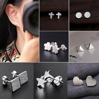 New Cool Women Men Silver Plated Star Triangle Frosted Ear Studs Earrings
