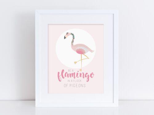 Baby Room Wall Art Be A Flamingo Kids Bedroom Nursery Print Pink