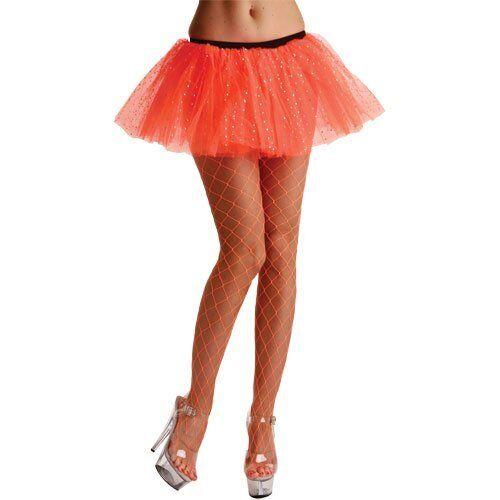 Wicked Orange Diamond net tights lingerie Halloween fancy dress costume 80/'s