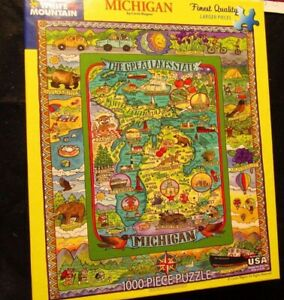 White-Mountain-Puzzle-Michigan-Great-Lakes-State-1000-pieces-EUC-Stunning-S91