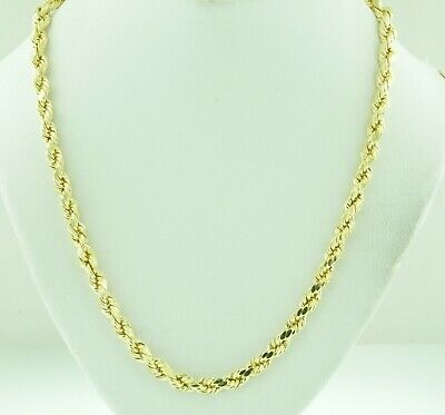 Womens Ladies 10k Yellow Gold Necklace Hallow Rope Chain 1mm 18 inch Hollow