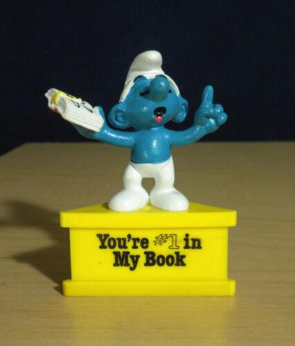 Smurfs Teacher Smurf A Gram #1 In My Book Vintage PVC Figure Stand PVC Figurine