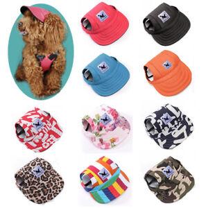 Red-Baseball-Cap-Sunbonnet-Strap-Neck-Dog-Summer-Pet-Canvas-Dogs-Visor-Hat