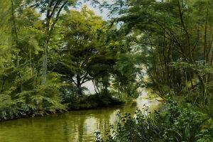 Oil painting christian peder morch zacho - a river landscape in summer season