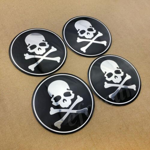 4pcs 65mm Skull Bone Auto Car Wheel Center Hub Cap Badge Emblem Decals Stickers