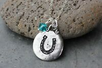 Lucky Horse Shoe Necklace- Luck Charm, Birthstone Crystal, Sterling Silver Chain