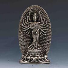 Tibetan Silver Handwork Carved Thousand-hand Bodhisattva statue