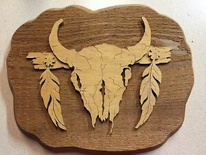 Western Wall Art western wall art scroll carved wood buffalo skull- feathers plaque