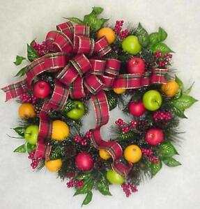 Williamsburg Christmas 2019.Details About Christmas Fruit 2019 Williamsburg Holiday Farmhouse Plaid Checked Bow Wreath